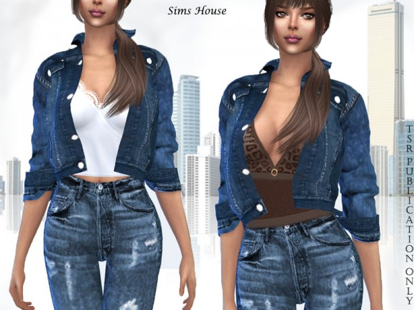 The Sims Resource: Denim women jacket with different tops by Sims House