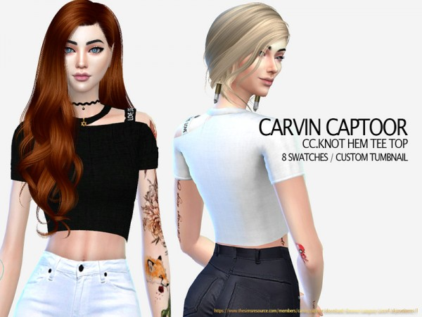 The Sims Resource: Knot hem tee Top by carvin captoor