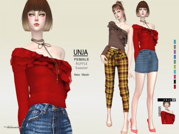 The Sims Resource: UNJA   One Sleeve Sweater by Helsoseira