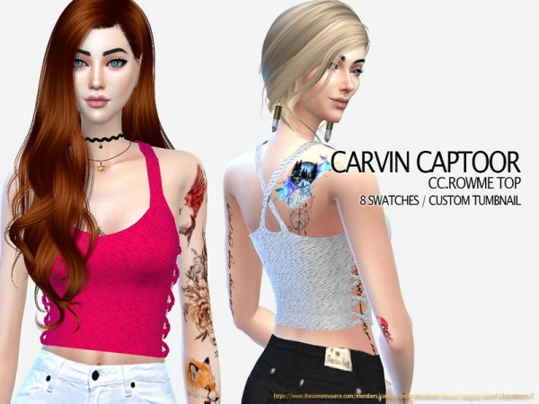 The Sims Resource: Rowme Top by carvin captoor