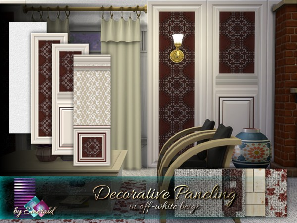 The Sims Resource: Decorative Paneling in offwhite beige by emerald
