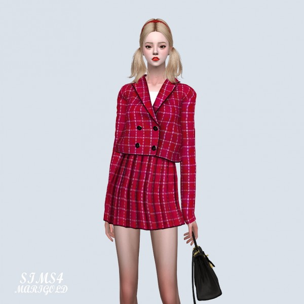 SIMS4 Marigold: Lovely Checked Jacket Two Piece