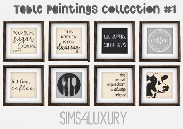 Sims4Luxury: Table paintings Collection 1