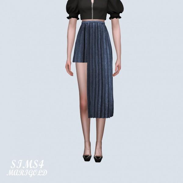 SIMS4 Marigold: Asymmetric Pleats Long Skirt