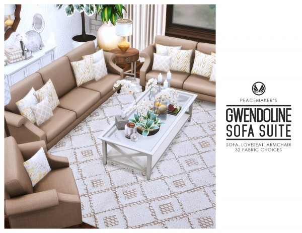 Simsational designs: Gwendoline Sofa Suite   Classic Scroll Arm Style