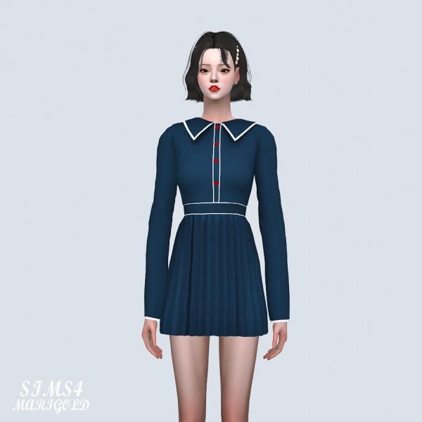 SIMS4 Marigold: Heart Button Pleats Mini Dress