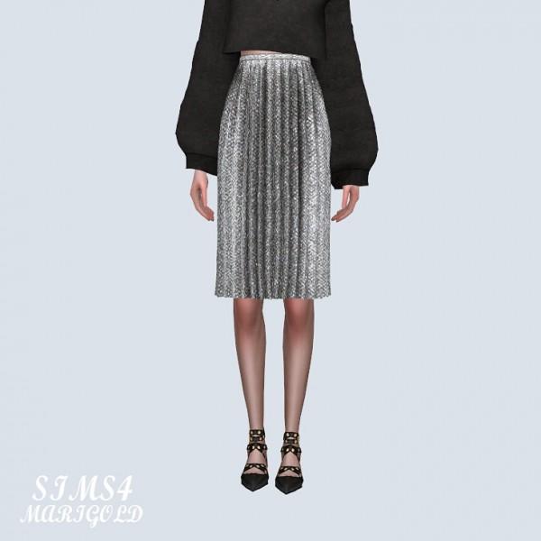 Sims 4 Marigold: Velvet Pleats Midi Skirt