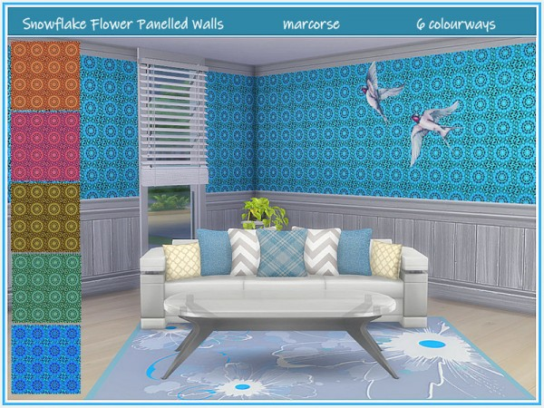 The Sims Resource: Snowflake Flower Panelled Walls by marcorse
