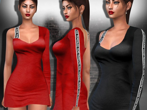The Sims Resource: Assymetric One Shoulder Style Dress by Saliwa