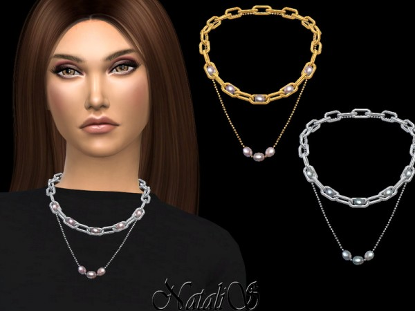 The Sims Resource: Double chain with pearls by NataliS
