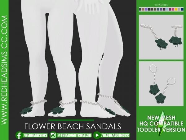 Red Head Sims: Flowe beach sandals