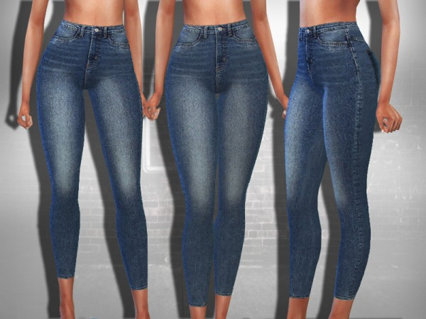 The Sims Resource: Mid Rise Dark Blue Jeans by Saliwa