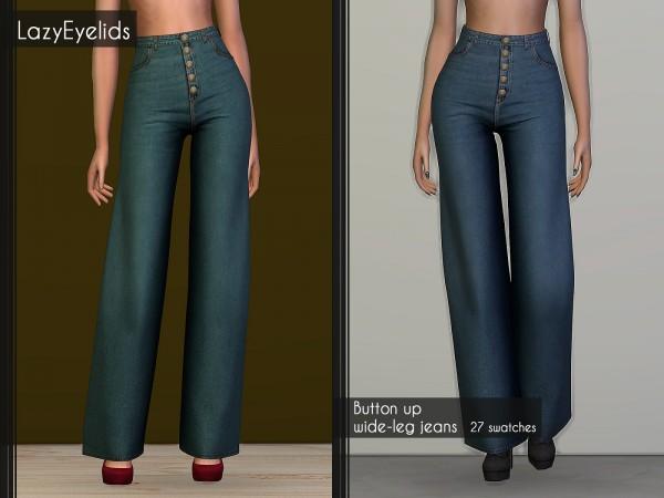 Lazyeyelids: Button up wide leg jeans