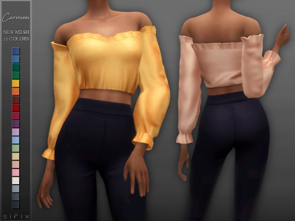The Sims Resource: Carmen Blouse by Sifix