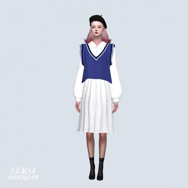 SIMS4 Marigold: Crop Vest With Midi Dress