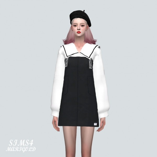 SIMS4 Marigold: Suspenders Mini Dress With Big Collar Blouse
