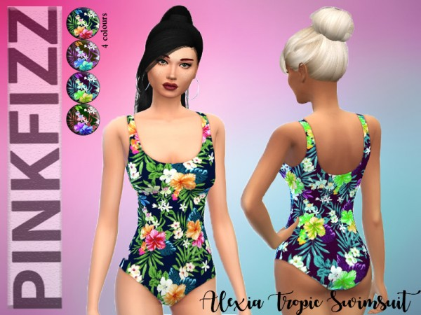 The Sims Resource: Alexia Tropical Swimsuit by Pinkfizzzzz