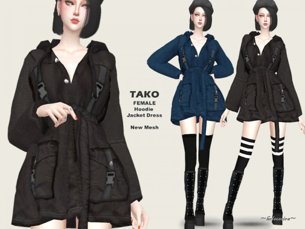 The Sims Resource: TAKO   Hoodie Jacket Dress by Helsoseira