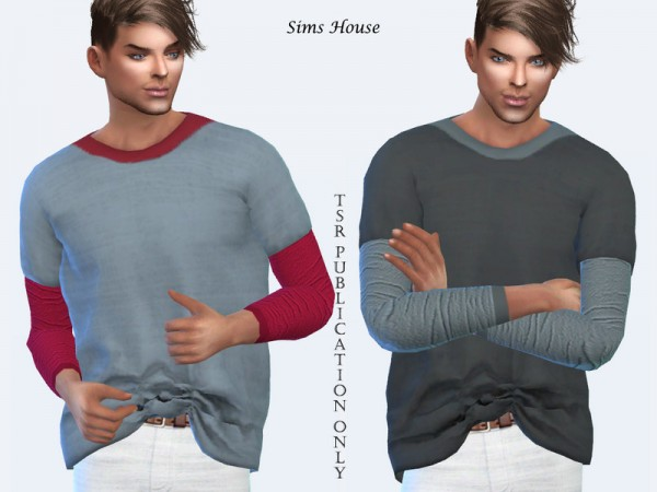 The Sims Resource: Mens T shirt Large Size Long Sleeves by Sims House