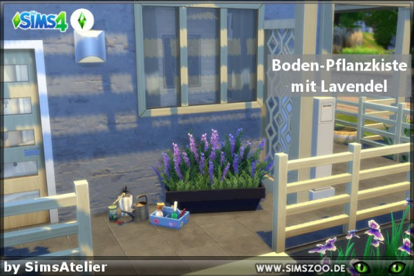 Blackys Sims 4 Zoo: Ground planter with lavender by SimsAtelier