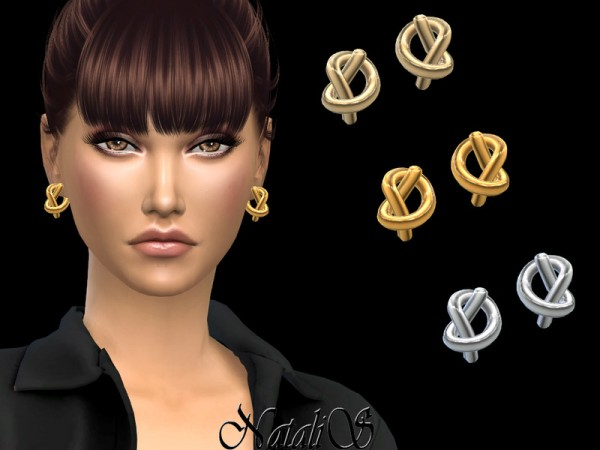 The Sims Resource: Knot stud earrings by NataliS