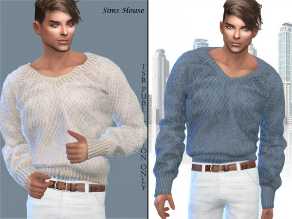 The Sims Resource: Mens Warm V neck Sweater by Sims House