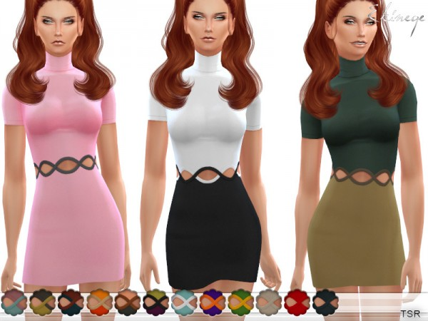 The Sims Resource: Cut Out Waist Mini Dress by ekinege