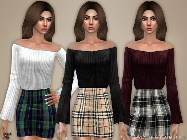 The Sims Resource: Sweater and Plaid Skirt by Black Lily