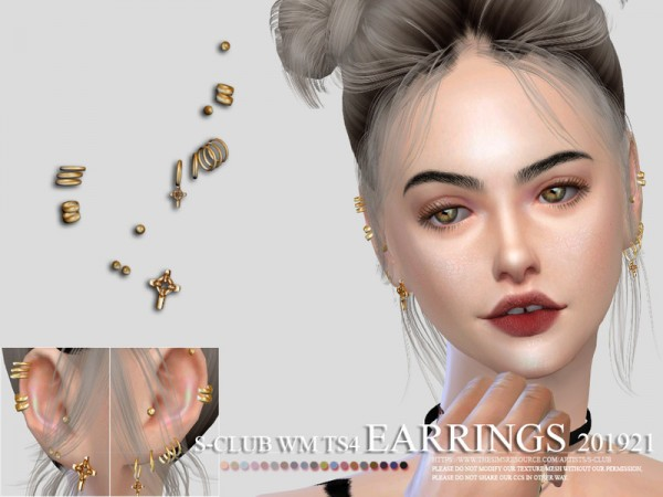The Sims Resource: EARRINGS 201921 by S club