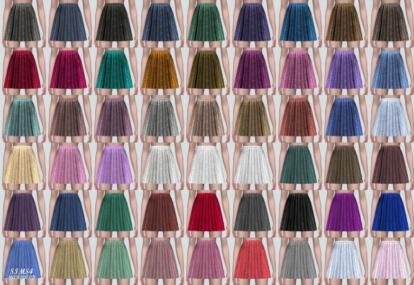 SIMS4 Marigold: Velvet Pleats Mini Skirt A Line V