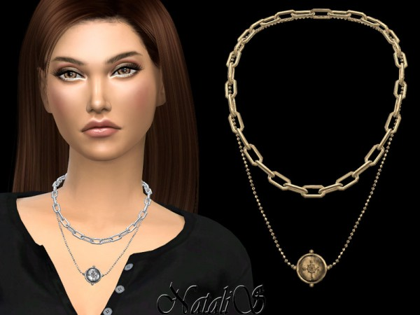 The Sims Resource: Compas coin layered necklace by NataliS