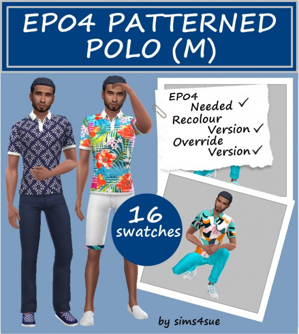 Sims 4 Sue: Patterned Polo T Shirt