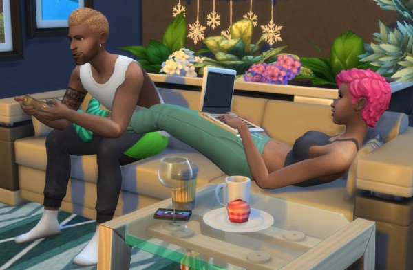 Mod The Sims: Gamer Couple Pose by LaLuvi