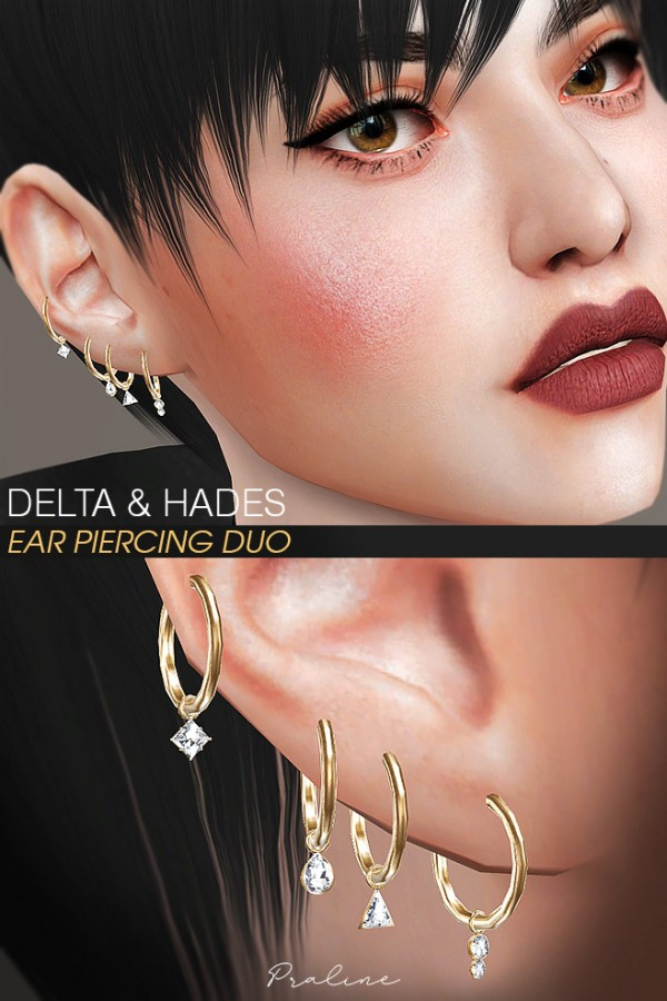 Praline Sims: Delta and Hades Ear Piercing Duo
