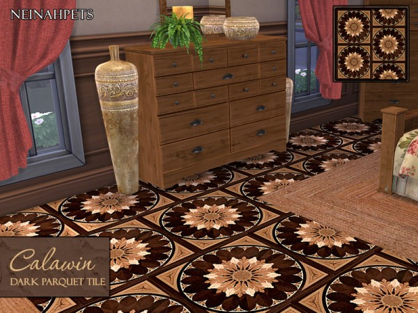 The Sims Resource: Calawin Dark Parquet Wood Flooring by neinahpets