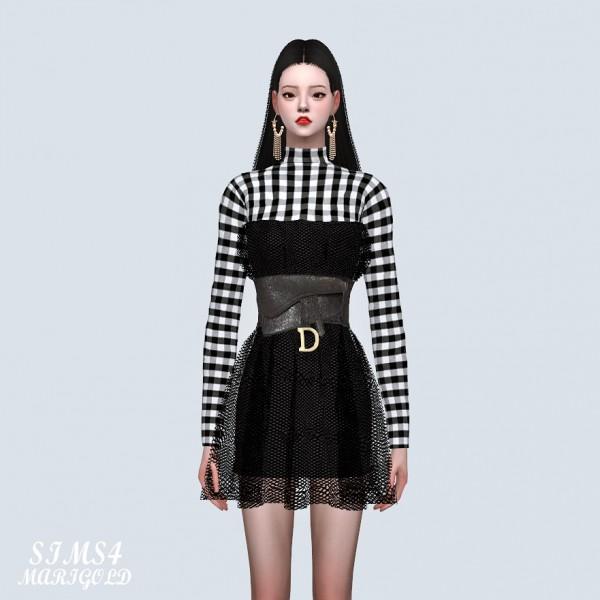 SIMS4 Marigold: Plaid Top See Through Mesh Mini Dress With Dior Bag Belt