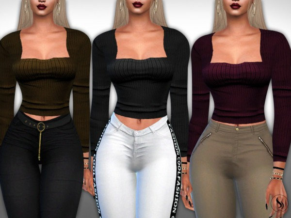 The Sims Resource: Square Neck Long Sleeve Tops by Saliwa