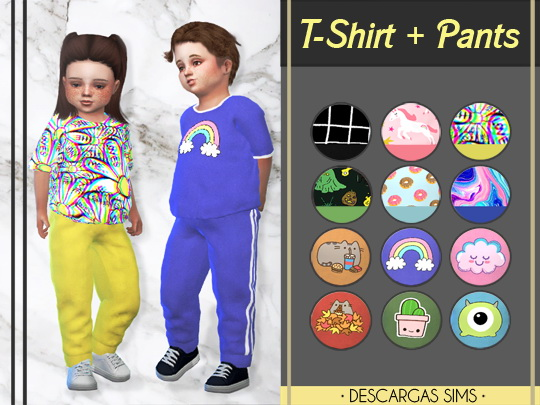 Descargas Sims: T Shirt and Pants for Toddlers