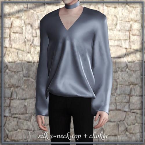 Lemon: Silk, velvet v neck top and choker