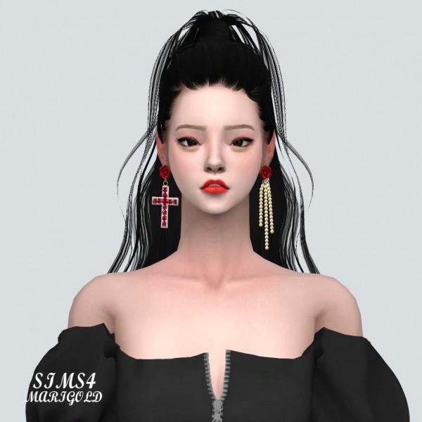 SIMS4 Marigold: Unbalance Rose Cross Earring