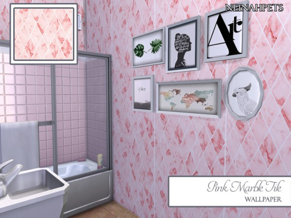 The Sims Resource: Pink Marble Tile Wall by neinahpets