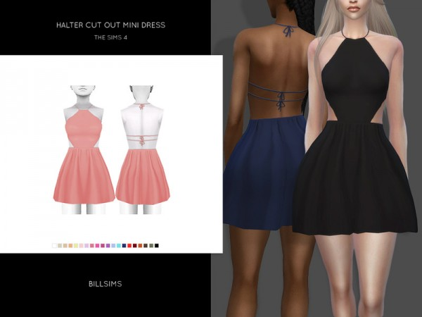 The Sims Resource: Halter Cut Out Mini Dress by Bill Sims