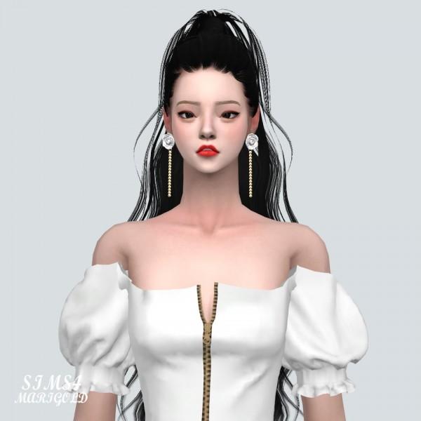 SIMS4 Marigold: Big Rose Pearl Earring