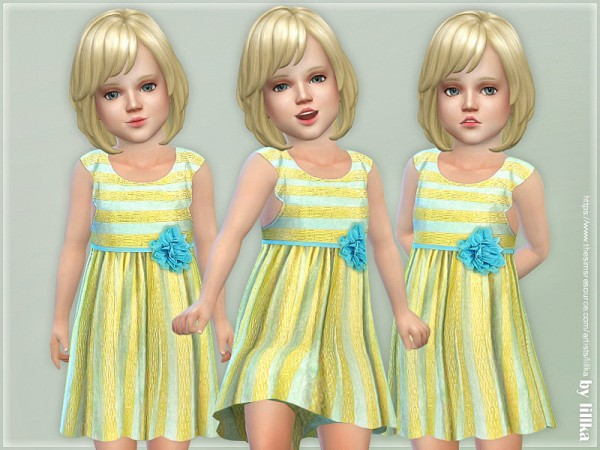 The Sims Resource: Yellow and Blue Stripe Dress by lillka