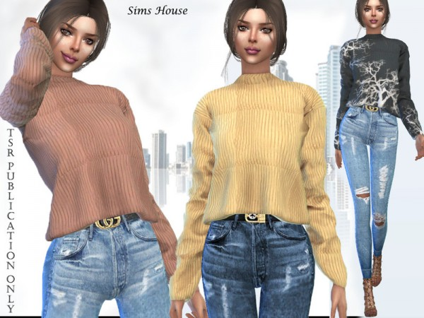 The Sims Resource: Womens sweater with a long sleeve short by Sims House
