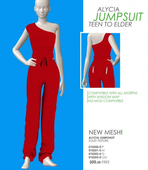 Red Head Sims: Alycia jumpsuit