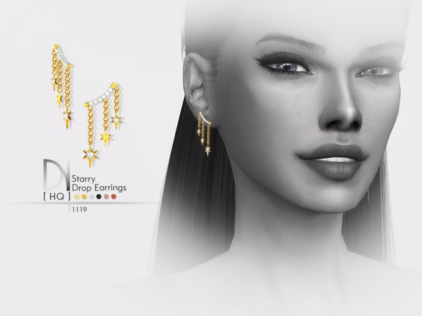 The Sims Resource: Starry Drop Earrings by DarkNighTt
