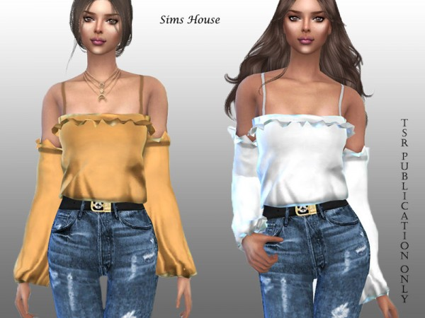 The Sims Resource: Womens Off Shoulder Silk Blouse by Sims House