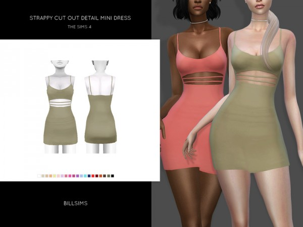 The Sims Resource: Strappy Cut Out Detail Mini Dress by Bill Sims