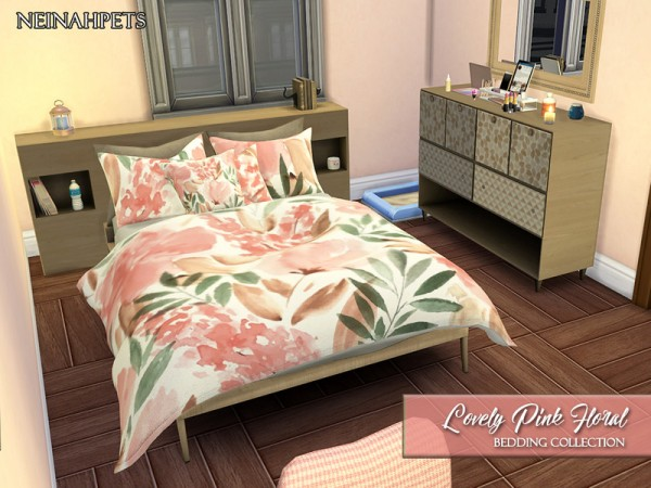The Sims Resource: Lovely Pink Floral Bedding Collection by neinahpets